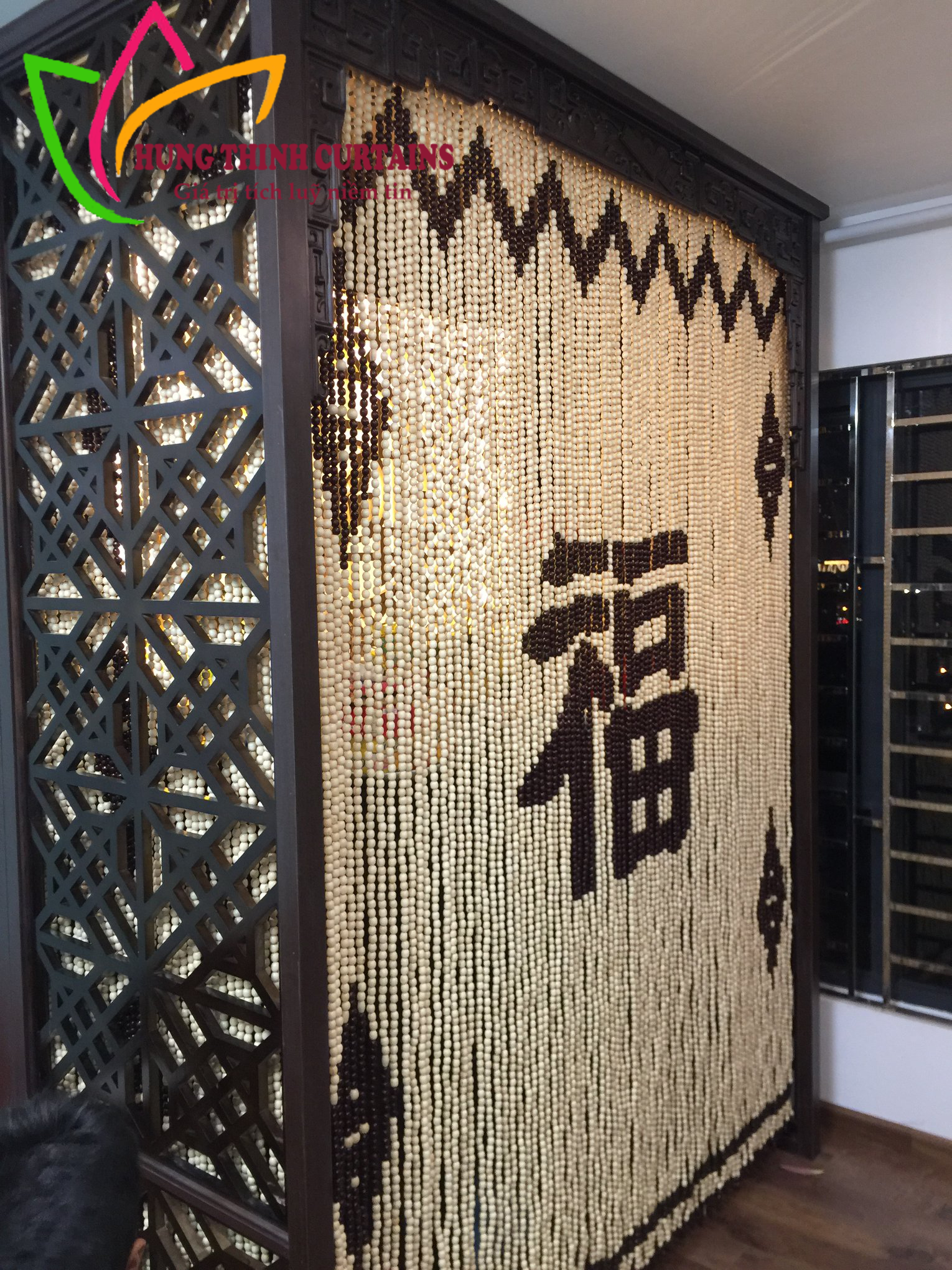 Rèm hạt gỗ che phòng thờ, ngăn phòng tại Chúc Sơn – Chương Mỹ – Hà Nội